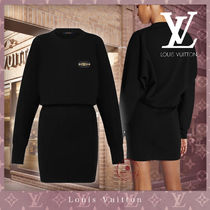 Louis Vuitton Crew Neck Short Casual Style Tight Wool Cashmere Nylon