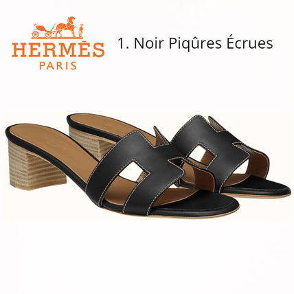 HERMES Oasis Open Toe Casual Style Plain Office Style Formal Style