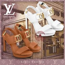 Louis Vuitton LOCKIT Open Toe Casual Style Leather Pin Heels Elegant Style Mules
