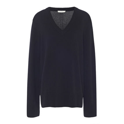 The Row Wool Cashmere Blended Fabrics V-Neck Long Sleeves Plain