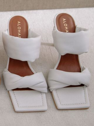 Open Toe Casual Style Plain Leather Mules Heeled Sandals