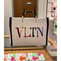 VALENTINO VLTN Casual Style Canvas A4 2WAY Plain Party Style Office Style