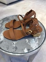 Christian Dior Open Toe Casual Style Studded Leather Block Heels