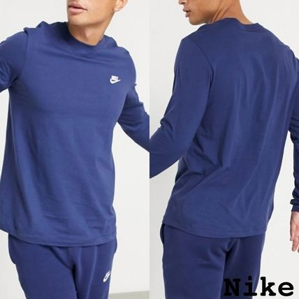 Nike Long Sleeve Crew Neck Pullovers Street Style Long Sleeves Plain Cotton