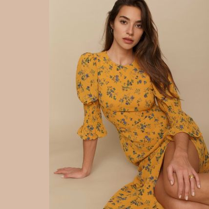 Crew Neck Flower Patterns Dots Casual Style Cropped Long