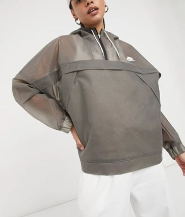 Nike Casual Style Street Style Plain Medium Logo Sheer Jackets