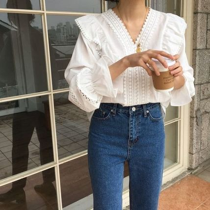 Casual Style Long Sleeves Medium Lace Puff Sleeves