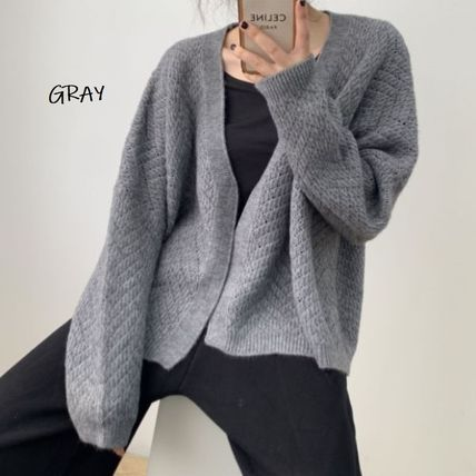 Cable Knit Casual Style Rib Dolman Sleeves Street Style