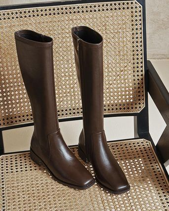 Square Toe Casual Style Plain Leather Mid Heel Boots