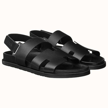 HERMES Unisex Street Style Plain Leather Strap Sandals