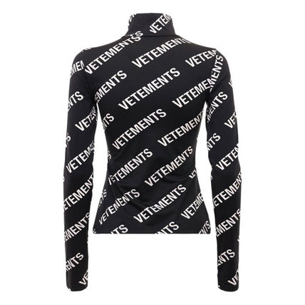 VETEMENTS Stripes Logos on the Sleeves Logo Tops