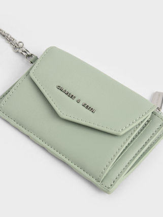 Charles&Keith Faux Fur Chain Plain Chain Wallet Bridal Logo Icy Color