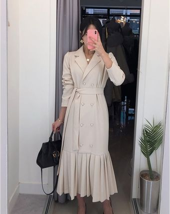 Formal Style  Gore-Tex Wrap Dresses Dungarees Denim Tight