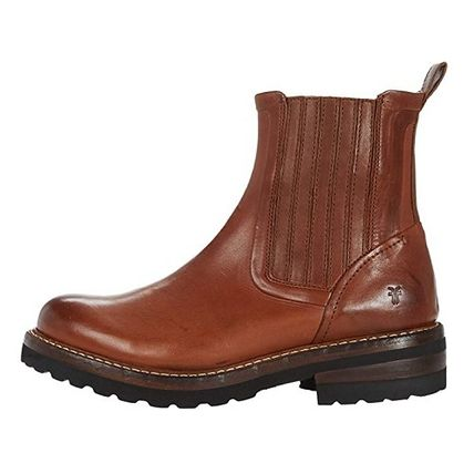 Round Toe Casual Style Plain Leather Chelsea Boots