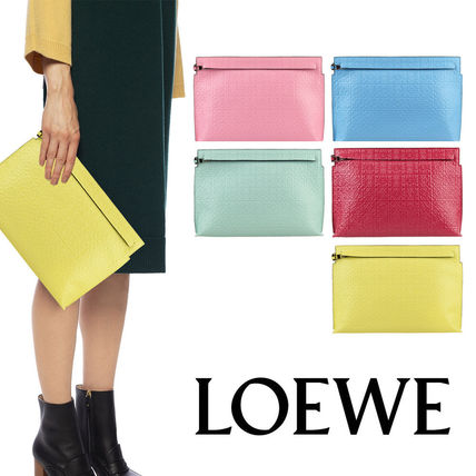 LOEWE Casual Style Unisex Calfskin Plain Leather Party Style