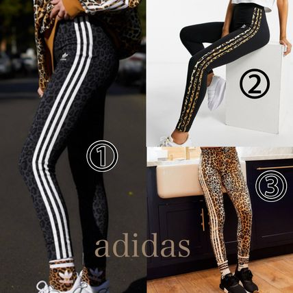 adidas Printed Pants Leopard Patterns Street Style Cotton Long Logo