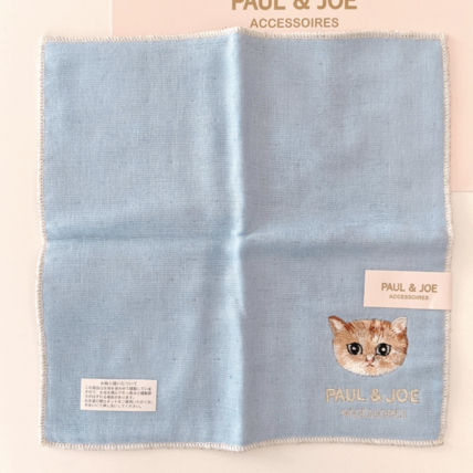 PAUL & JOE Plain Other Animal Patterns Cotton Logo Handkerchief
