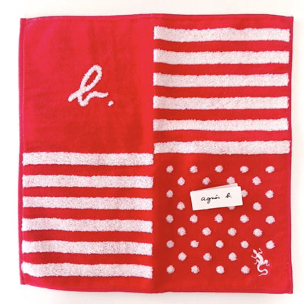 Agnes b Stripes Dots Cotton Logo Handkerchief