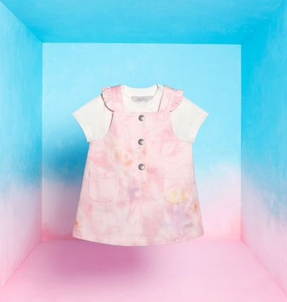 Front Button Icy Color Baby Girl Dresses & Rompers