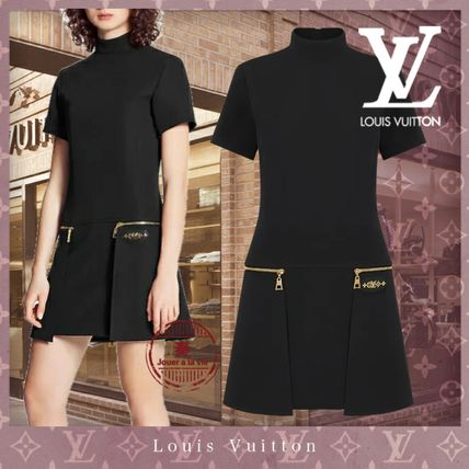 Louis Vuitton Short Casual Style A-line Wool Silk Blended Fabrics