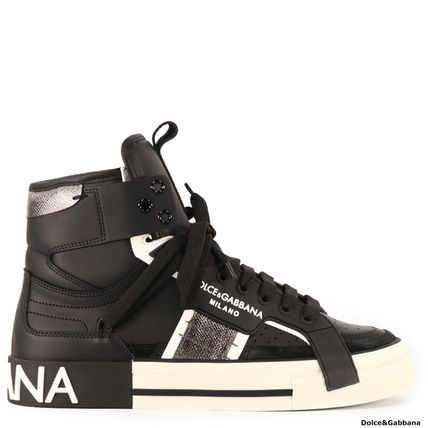 Dolce & Gabbana Logo Blended Fabrics Leather Sneakers