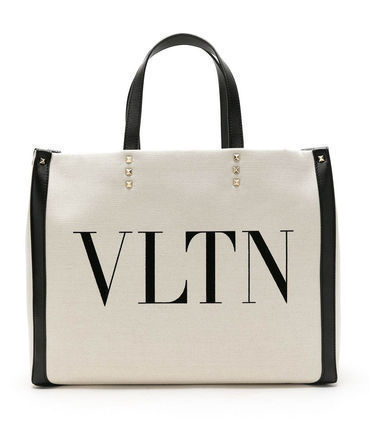 VALENTINO VLTN Canvas Logo Casual Style A4 Plain Street Style Elegant Style