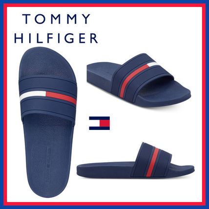 Tommy Hilfiger Stripes Unisex Street Style Plain Shower Shoes