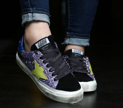 Leather Glitter Logo Low-Top Sneakers