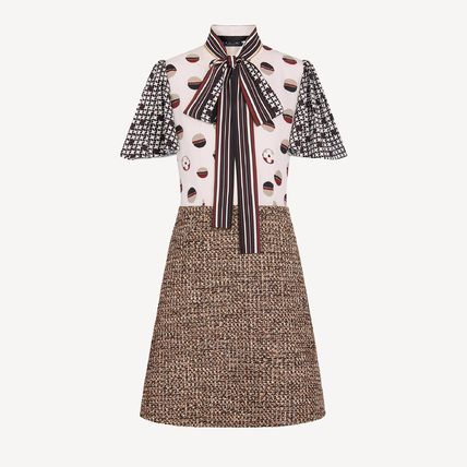 Louis Vuitton Two-Fabric A-Line Dress In Camel Natte Tweed