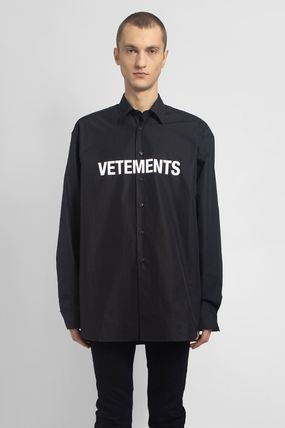 VETEMENTS Logo Unisex Long Sleeves Plain Cotton Street Style Oversized