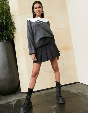 ASOS Short Casual Style Pleated Skirts Street Style Plain Skirts