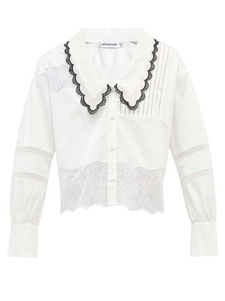 Short Casual Style Long Sleeves Plain Cotton Lace