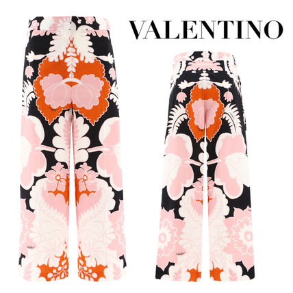 VALENTINO Flower Patterns Casual Style Silk Cotton Long Elegant Style