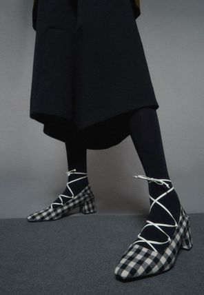 Charles&Keith Gingham Square Toe Casual Style Party Style Office Style