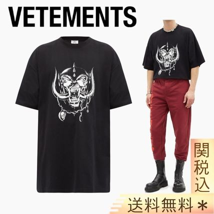VETEMENTS Logo Crew Neck Pullovers Cotton Short Sleeves Street Style