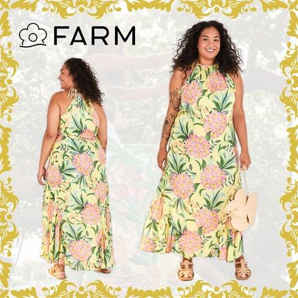 Flower Patterns Tropical Patterns Casual Style Maxi Cotton