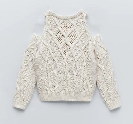 ZARA Cable Knit Casual Style Long Sleeves Sweaters