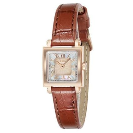 FENDI Leather Square Quartz Watches Stainless Analog Watches