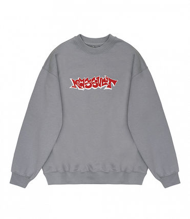 Logo Crew Neck Sweat Long Sleeves Cotton Street Style