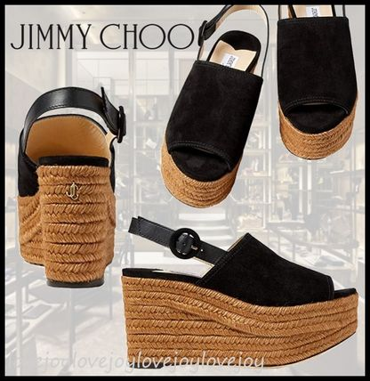 Jimmy Choo Logo Open Toe Casual Style Blended Fabrics Plain Leather