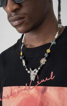 Unisex Street Style Silver Logo Necklaces & Chokers