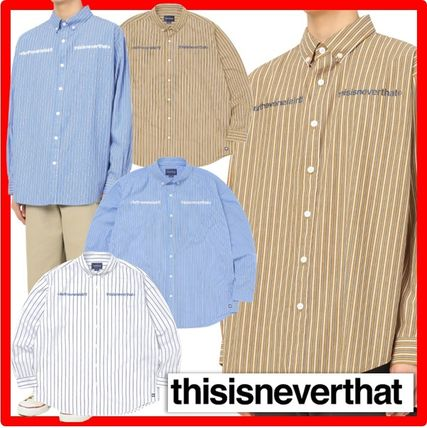 thisisneverthat Shirts Street Style Long Sleeves Cotton Shirts