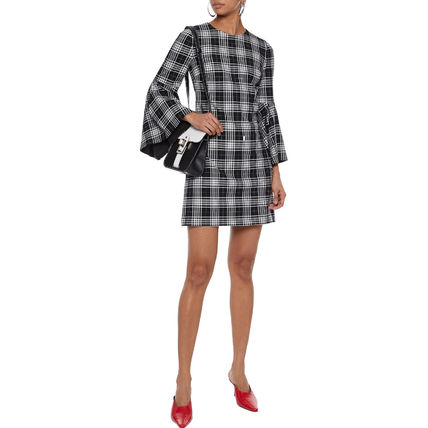 Other Plaid Patterns Short Casual Style A-line