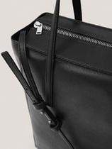 Massimo Dutti Casual Style Plain Leather Office Style Totes