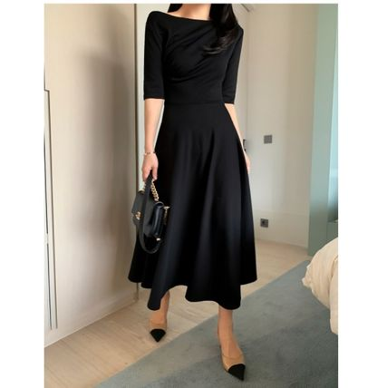 Casual Style A-line Flared Boat Neck Cropped Plain Long
