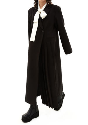 OPEN THE DOOR Casual Style Plain Long Street Style Jackets