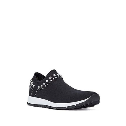 Jimmy Choo Round Toe Rubber Sole Casual Style Studded Street Style