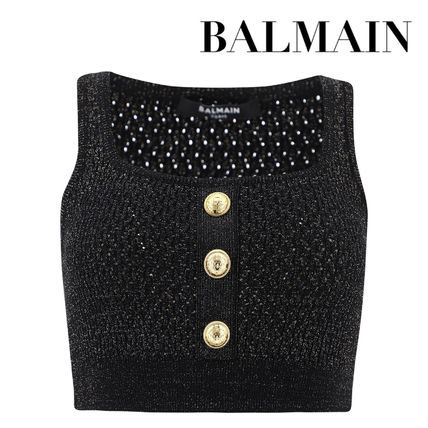 BALMAIN Cropped Black Knit And Lurex Top With Gold-Tone Buttons