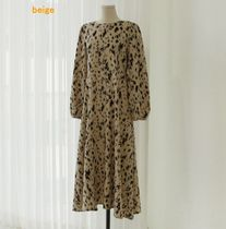 MONICA ROOM Dresses Crew Neck Leopard Patterns Casual Style Flared Long Sleeves 7