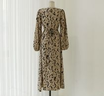 MONICA ROOM Dresses Crew Neck Leopard Patterns Casual Style Flared Long Sleeves 8